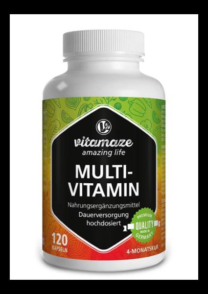 Multivitamin hochdosiert, 120 vegetarische Kapseln